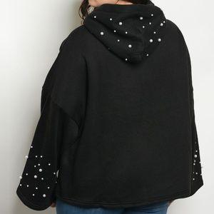 Tops - Bell Sleeve Slouchy Embellished Hoodie Sweatshirt